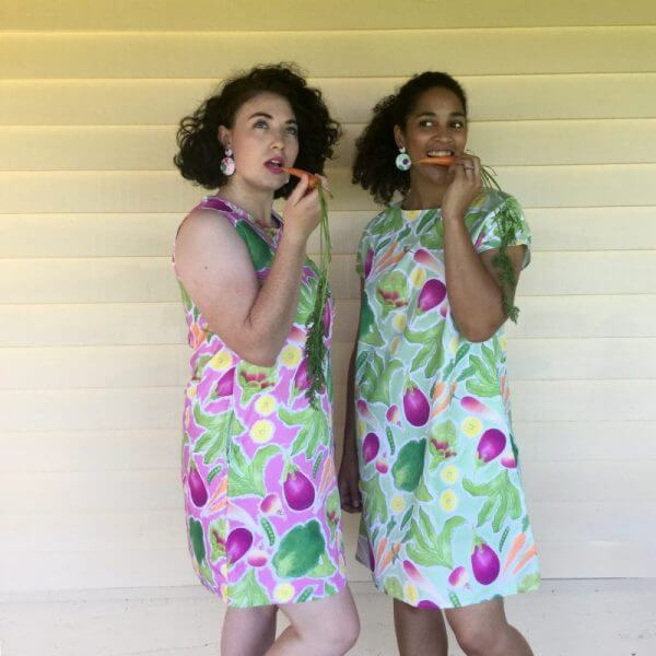 Rock The Brocc ladies dress in green and ladies shift dress in pink carrot fun