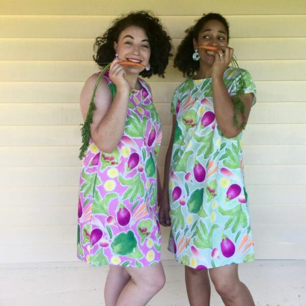Rock The Brocc ladies dress and dangle earrings in green front view