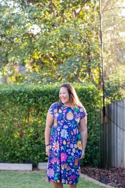 Kablooie sunshine garden jersey dress