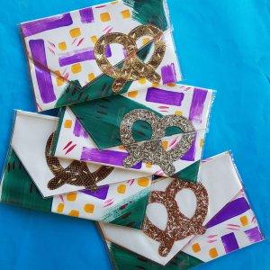 Handmade pretzel clutches