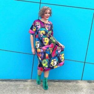 Mel in Faces Dress happy kablooie customer