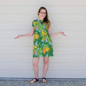 Nicole happy kablooie customer blue bananas dress