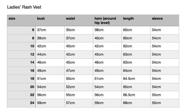 women's rashie measurement chart for sizing