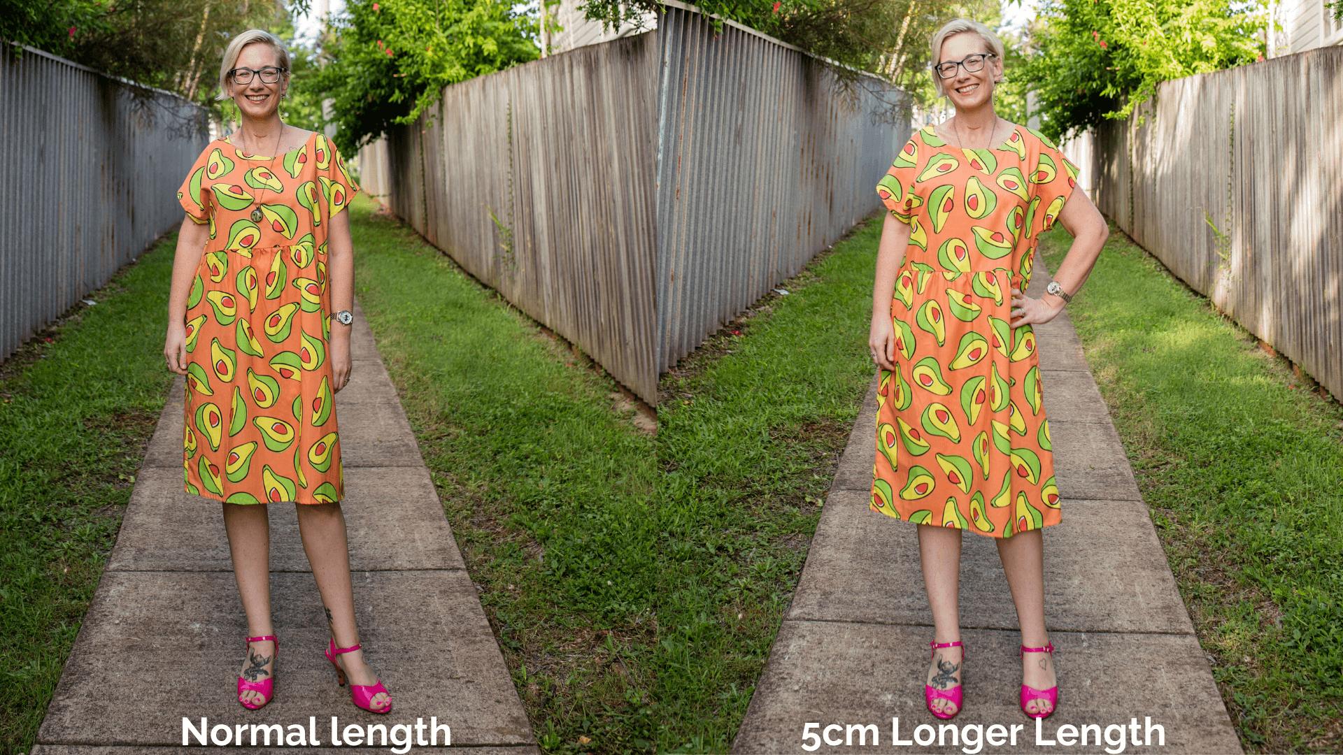 dress 5cm extra length