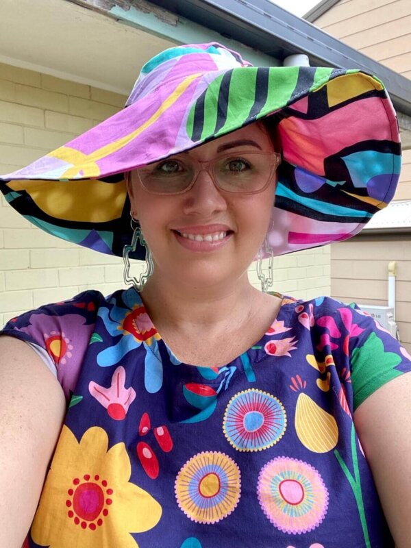 Shape up and Art attack 2-way Hat. Wearing Sunshine Garden dress