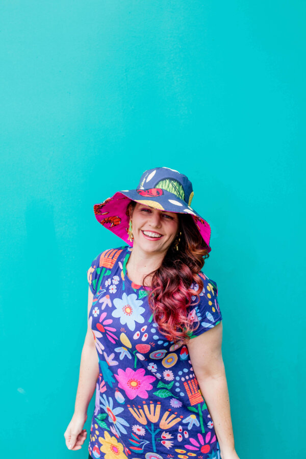 Yum Cha and Prawny Prawn 2-way Hat. Wearing Sunshine Garden dress