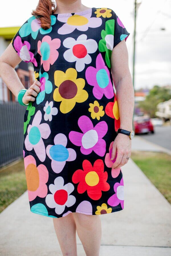 Retro-Bloom-Black-Ladies-Cotton-Regular-Dress