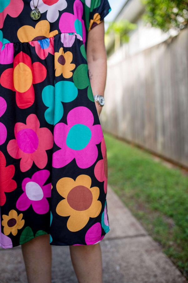 Black retro bloom babydoll dress Close up