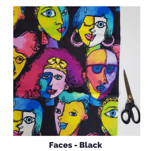 faces in black fabric