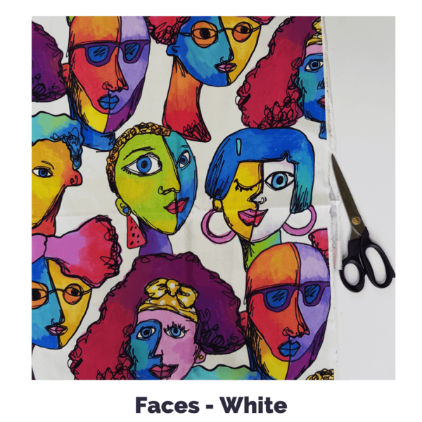 Faces in white fabric