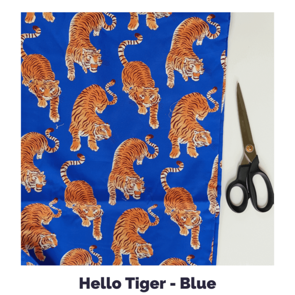 Hello Tiger Blue fabric