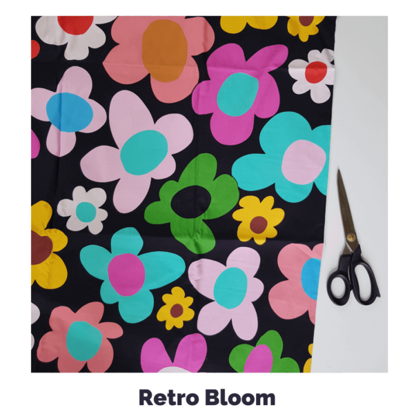 retro bloom in black fabric
