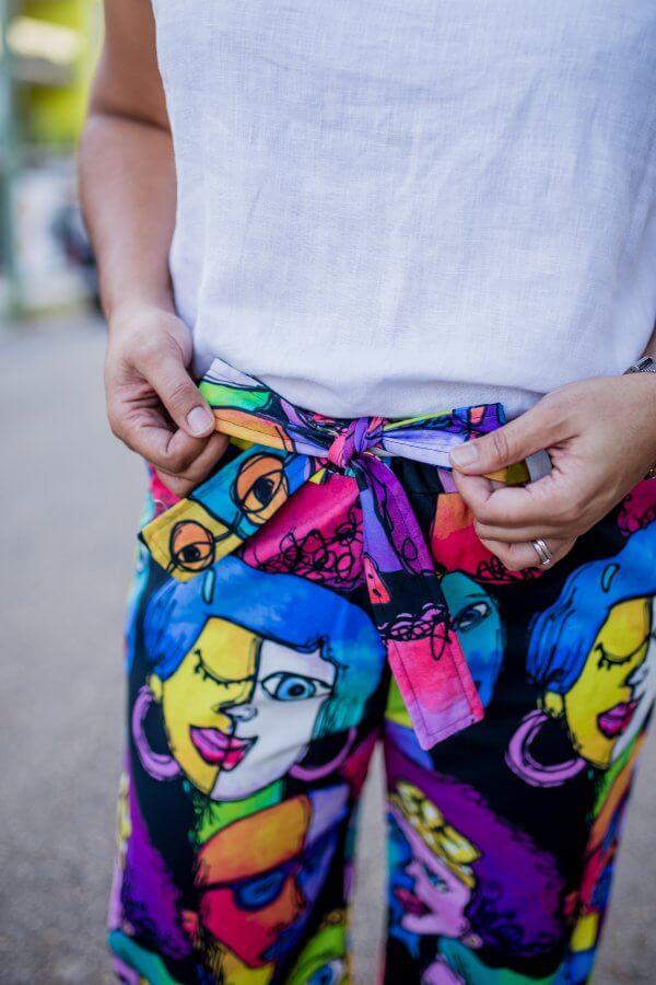 Faces Black Ladies Cotton Pants Close up