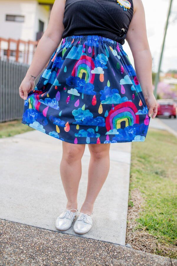rainbows in the rain skirt
