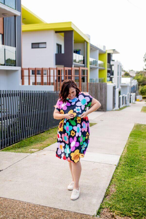 retro bloom Jersey babydoll breastfeeding dress