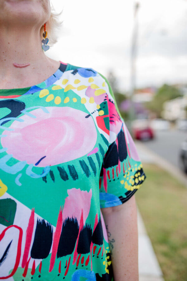 Luminous Ladies Jersey Top with Sleeves close up