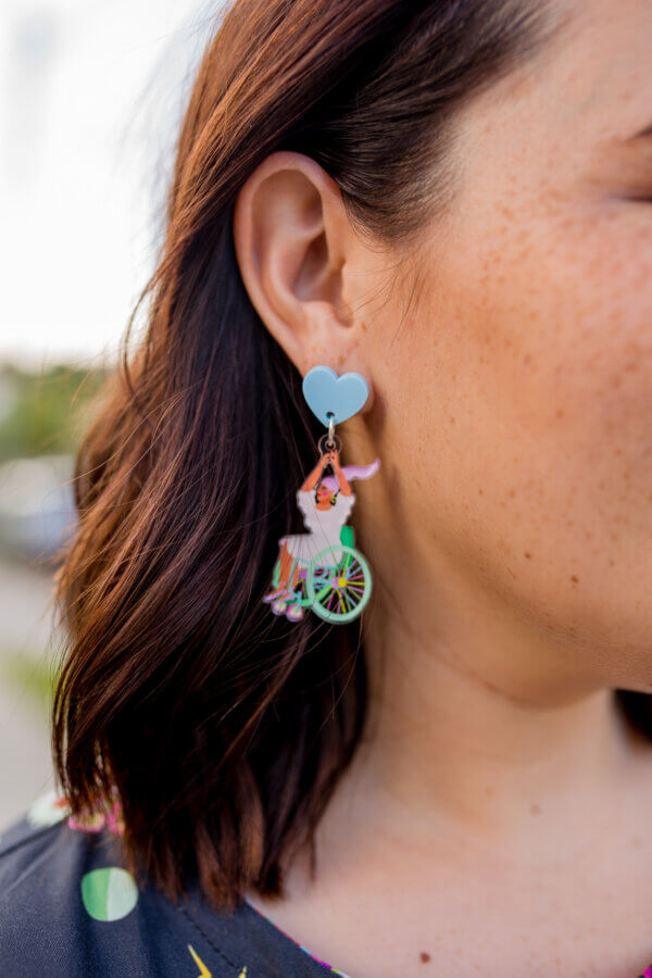 The Just Be YOU! Wheelchair Dangle Earrings - limited edition