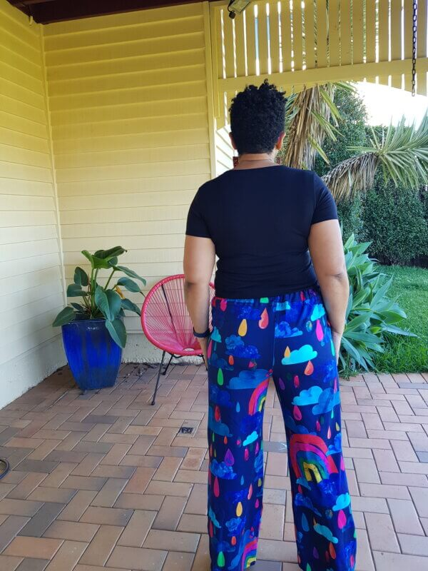 Rainbows In The Rain Jersey Cotton Full Length Pants Back View